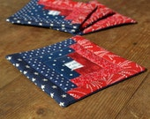 Patriotic Colors Log Cabin Quilted Coasters - Mug Rugs - 4th of July - Independance Day - Americana - Blue Red Cream - SCOFG - Home Decor