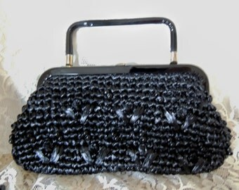 SALE! Vintage Black Straw Purse Handbag 1960's