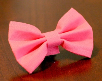 "Ready To Ship Small 3/8"" Cat or Dog Bow Tie - Hot Pink no collar"