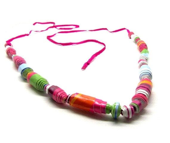 Multicolored Paper Bead Necklace Rainbow  Multi Color Modern Eco Fashion