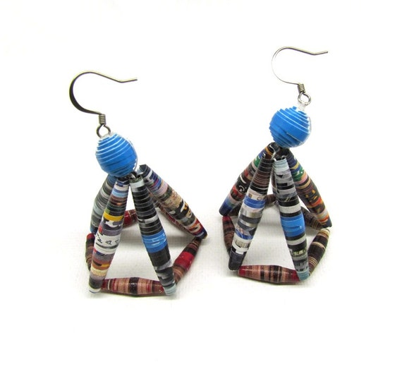BLACK FRIDAY SALE 40% Off Paper Anniversary Handmade Paper Bead Earrings Dangle Earrings Lightweight Paper Jewelry Earrings Blue