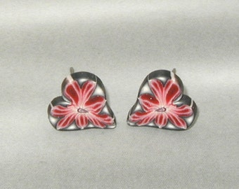 Red Blush Flower, Heart Post Earrings with Shades of Gray