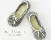 Women's CROCHET PATTERN Myra Slippers (6 sizes included from Womens 5-10) Instant Download