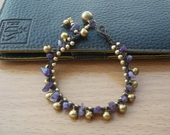 Purple Amethyst Handmade and brass with bells bracelet Thailand Fair Trade Jewelry / Charm Jewelry / Fashion of winter / New year gift