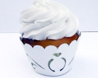 12 Wedding Ring Cupcake Wrapper (cw126)