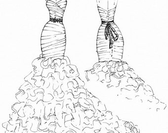 FRONT and BACK dress sketch of YOUR special dress - a perfect gift...