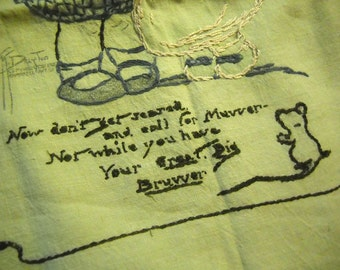 1900's Embroidered Pillow Cover - Don't Get Scared and Call for Muvver...