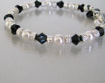 Swarovski Black and White Bracelet-Mother of the Bride Bracelet-Mother of the Groom-Mother of the Bride Gift-Mother of the Groom Jewelry