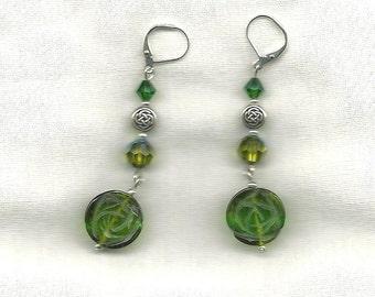 OOAK--Celtic Rose of Sharon Green Quartz earrings - Leverback