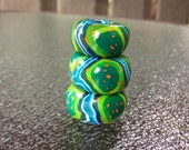Green Dread Bead Lot of 3- Choose Your Hole Size - HippieClay