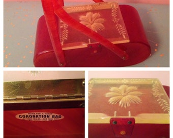 Red burnt orange 1950 CORONATION lucite carved lid purse