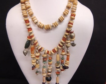 Vintage Earthtone Double Strand Beaded Statement Necklace Skull Day of the Dead Amethyst Stone