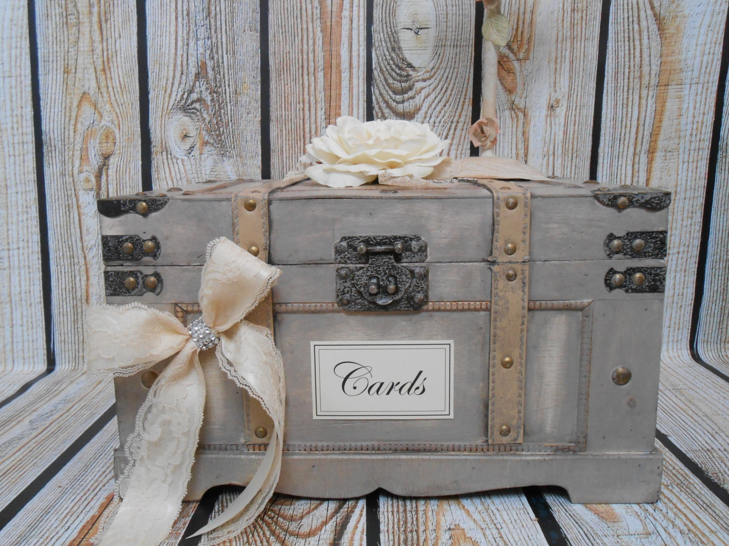Vintage Trunk Wedding Card Box Wooden Card Box / Wedding