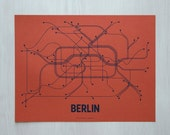 Berlin Lineposter Screen Print - Coral/Navy