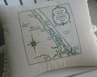 Large Daytona Beach Florida Vintage Map Pillow, Atlantic Ocean, Blue Pillows, Beach House, Shore, Nautical Pillows, Cottage, Beach Decor