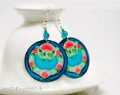 Blue & Mint Dangle Earrings, Medium or Big  Round decoupage earrings Art Nouveau Ornament  ,  gift for her under 25