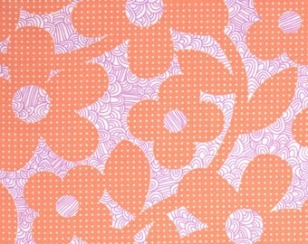 16 x 20 LAMINATED cotton fabric (similar to oilcloth) remnant - Dots Loops Peach Coral - BPA free Approved for children - washable laminate