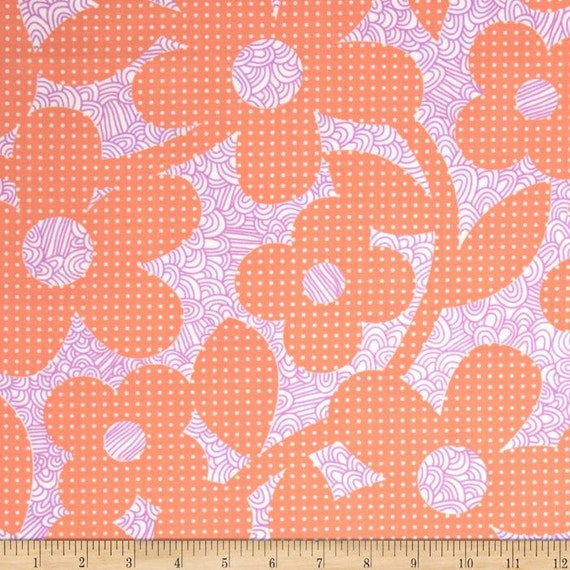 LAMINATED cotton fabric by the yard - Dots Loops Peach Coral Weekends - WIDE - BPA free - Approved for children's products