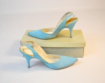 1980s Sky Blue Slingback Heels, Stilettos, Pumps by Spiegel, Size 7 1/2, 38