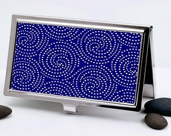 Handmade Business Card Case, Starlight Swirl Design in Cobalt Blue and White Dots, Retro Credit Card Case Men or Women's Accessory