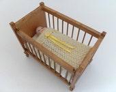 1:12 Scale Crib Blanket Dollhouse Miniature Cot Blanket Knitted Lamb's Wool Yellow Trim Dollhouse Miniature Artisan Handmade Miniaturejoy