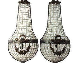Garland Sconces. Large Oversized Sconces. French Empire Style Wall Sconces. As seen on Real Housewives of Beverly Hills