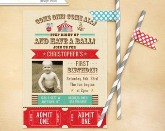 Circus Birthday Invitation Tickets - digital file
