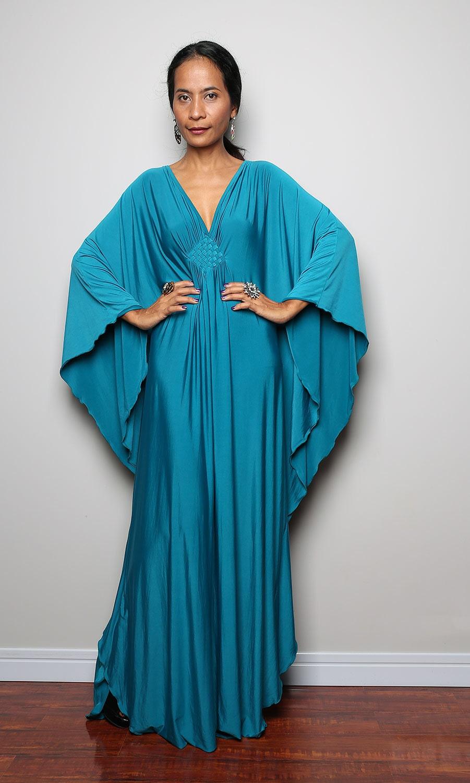 Teal Maxi Dress Kimono Butterfly Turquoise Blue Maxi Dress
