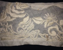 Vintage Embroidered  Pieces, Embroidered Lace, Bridal Lace, Wedding Lace, Country Lace