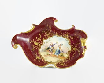 Antique Rudolstadt Porcelain Hand Painted Dish Artist Signed by Richter