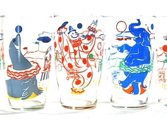 Big Top Circus Drinking Glasses by Federal Glass Set of 5