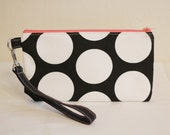 Medium Wristlet - large black white polka dot