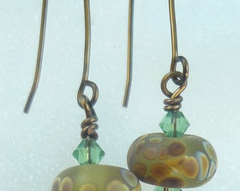 Organic Lampwork Bead Earrings