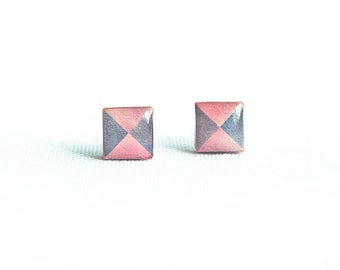 Peach square earrings studs