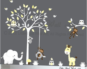 Owl tree wall decal nursery wall sticker decals gender neutral