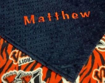 Detroit Tigers Fleece Baseball Personalized Minky Baby Blanket