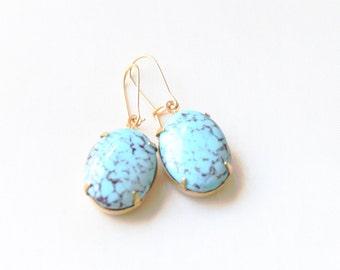 Vintage Mottled Turquoise Glass Cabochon Earrings, Set Stone Earrings, Colored Stone Earrings, Rhinestone Earrings, Bezel Earrings