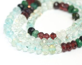 Multi Gemstone Micro Faceted Rondelles Half Strand Blue Red Green Semi Precious Gemstones