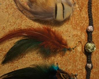 CLEARANCE Feather Earring Friendship Bracelet Set