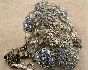 Romantic Embellished Cuff Bracelet with Vintage Sparkles, Ice Blues