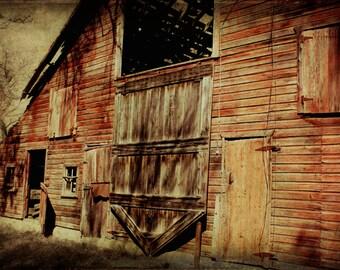 Rustic Barn Farm Scene Barn Door Open