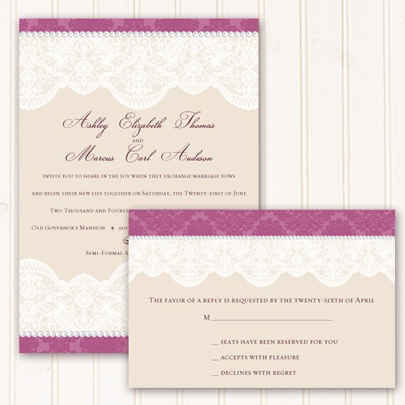 wedding invitations with rsvp, rose and cream wedding invitation, Victorian bridal shower, rosey and cream retirement,  IN269