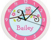 Owl Personalized Nursery Wall Clock