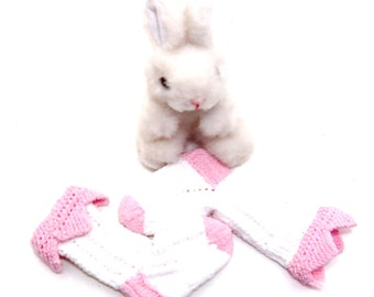 Toddler socks pink white 'princess' socks hand knit stretch cotton fits up to 3 year old girl toddler lacy eyelet pattern