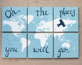 world map with airplane. 3'x2'. oh the places you will go... 6) 12x12 canvas . navy blue red orange light gray grey orange custom colors
