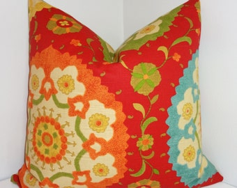 Deep Red Richloom Cornwall Cadmium Suzani Print  Pillow Cover Decorative Pillow Cover 18x18 20x20