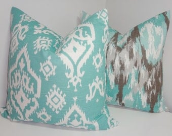 Decorative Pillow Cover Set Blue & Grey Ikat Print Pillow Covers 18x18