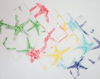 Set of 4 Starfish Napkins Yellow Green Salmon Blue Navy Nautical Napkins Beach Decor Choose Your Color