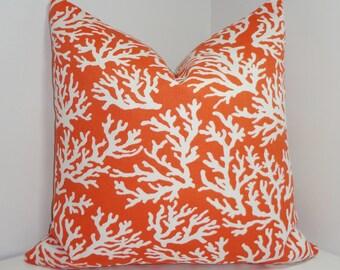 OUTDOOR Mandarin Coral Print Pillow Cushion Cover Coral Porch Decorative Nautical Pillow Cover 18x18