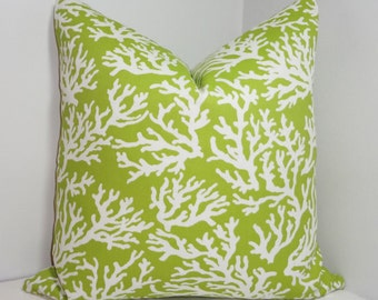 OVERSTOCK OUTDOOR Coral Print Pillow Cushion Covers Lime Green Porch Decorative Pillows 18x18